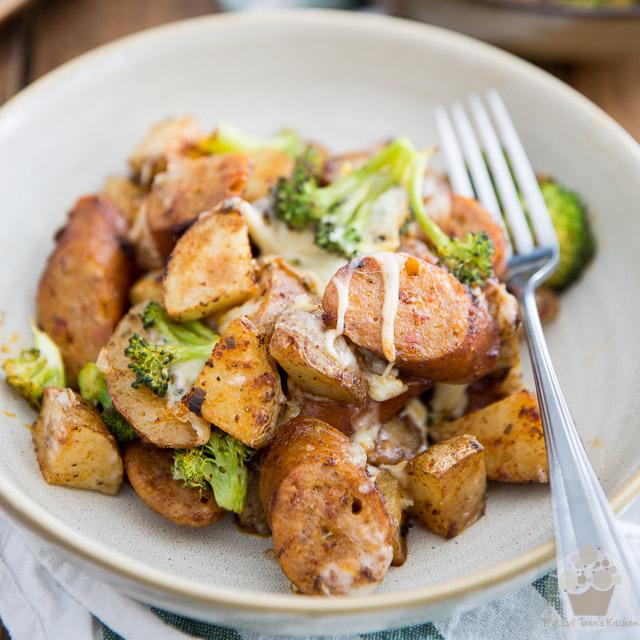 Sheet Pan Cheesy Roasted Potatoes and Sausage