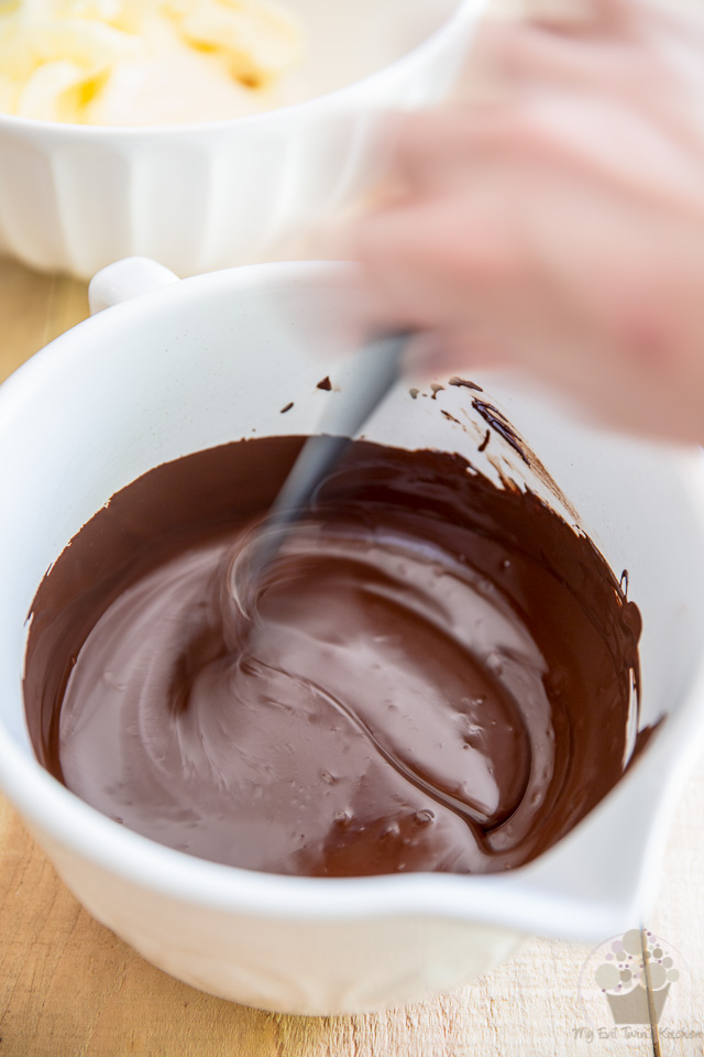 Melt the chocolate in the microwave - part of step by step instructions to make the most delicious Chocolate Fudge Frosting