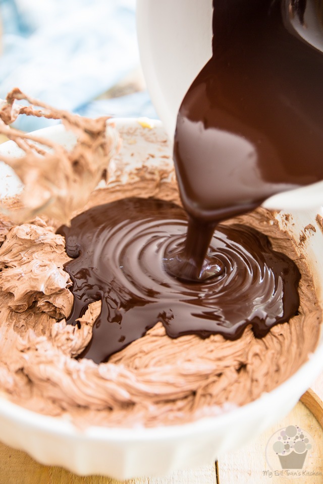 Add the melted chocolate - part of step by step instructions to make the most delicious Chocolate Fudge Frosting