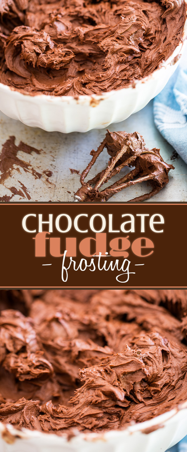 A super rich and intense Chocolate Fudge Frosting that is so insanely delicious and easy to make, you'll never want to go for another recipe ever again!