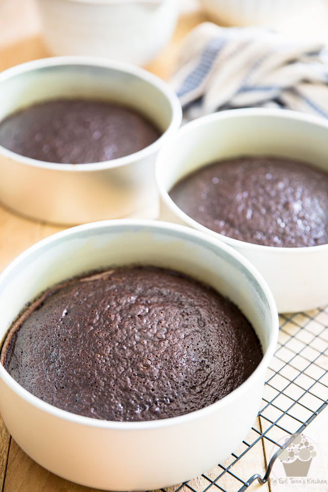 Baked cakes need to cool in the pan for 25 to 30 minutes - part of Devil's Food Cake step by step instructions