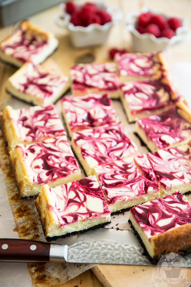 White Chocolate Raspberry Cheesecake Bars - Step-by-Step Tutorial on eviltwin.kitchen