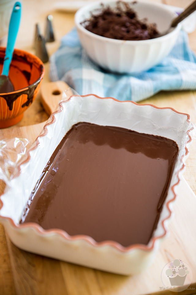 Making the chocolate blades - part of My Evil Twin's Kitchen's Wicked Windmill Chocolate Cake step-by-step instructions