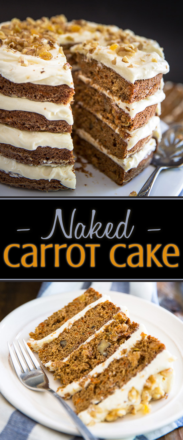 This naked carrot cake is exquisitely sweet and spiced, perfectly moist and tender, with an impeccable tangy cream cheese frosting that's totally insane and dangerously yummy.