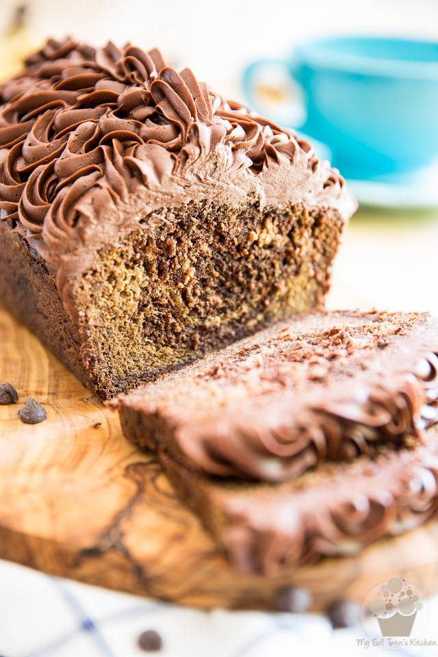 Banana Bread... boring, right? NOT if you kick it up a notch or twelve and turn it into a Marbled Chocolate Banana Bread and top it with a thick layer of rich, dense and super fudgy Chocolate Cream Cheese Frosting!