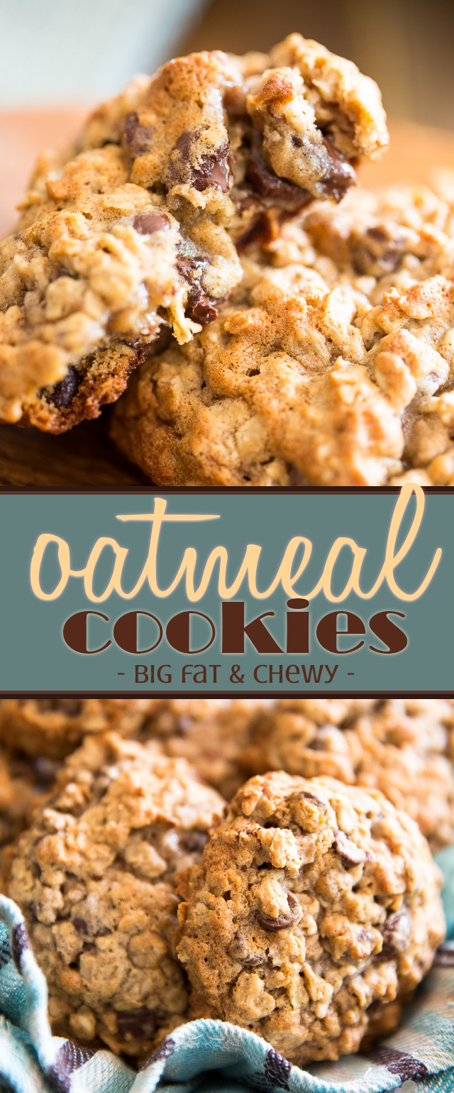 The name says it all: these oatmeal cookies, they're big, fat and chewy! Loaded with chocolate chips and chopped pecans, they're guaranteed to hit the spot!