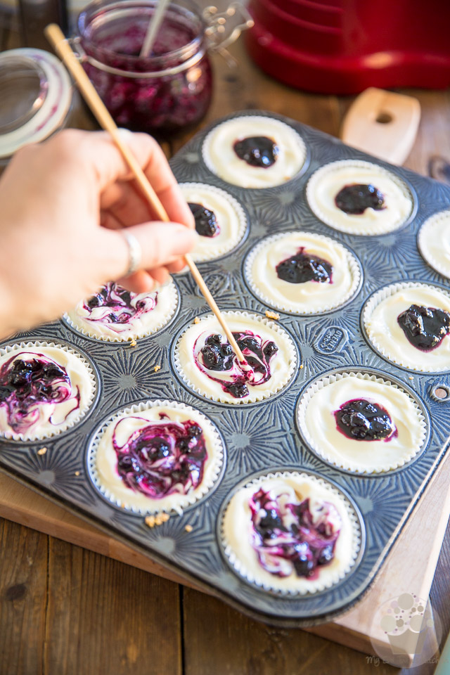 Mini Blueberry Cheesecakes by My Evil Twin's Kitchen   Recipe and step-by-step instructions on eviltwin.kitchen