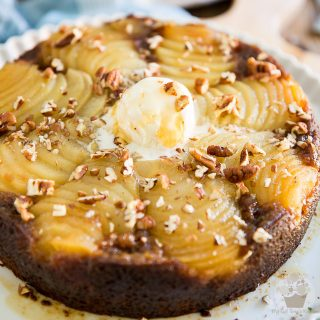 This Upside Down Pear Cake is the perfect fall cake! It's sticky and sweet, but refreshing still, with an honest touch of molasses, cinnamon and spice and everything nice!