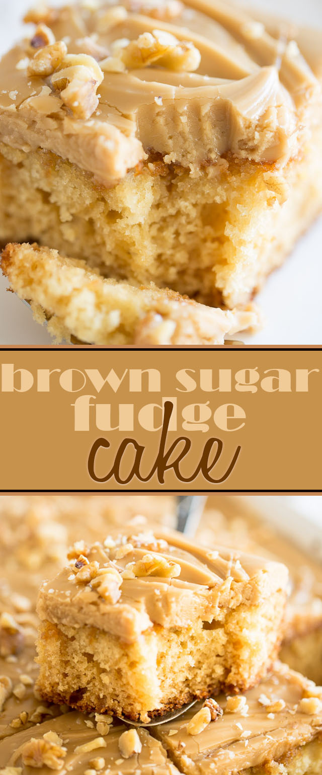 A moist and fluffy cake topped with a thick layer of rich and creamy brown sugar fudge; this Brown Sugar Fudge Cake is an indulgent and insanely delicious dessert.