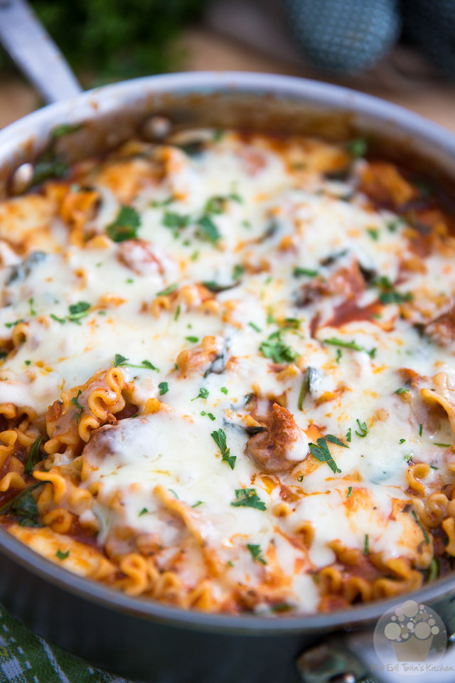 5 ingredients and about 20 minutes of your time are all you need to whip up this crazy delicious Italian Sausage Skillet Lasagna!