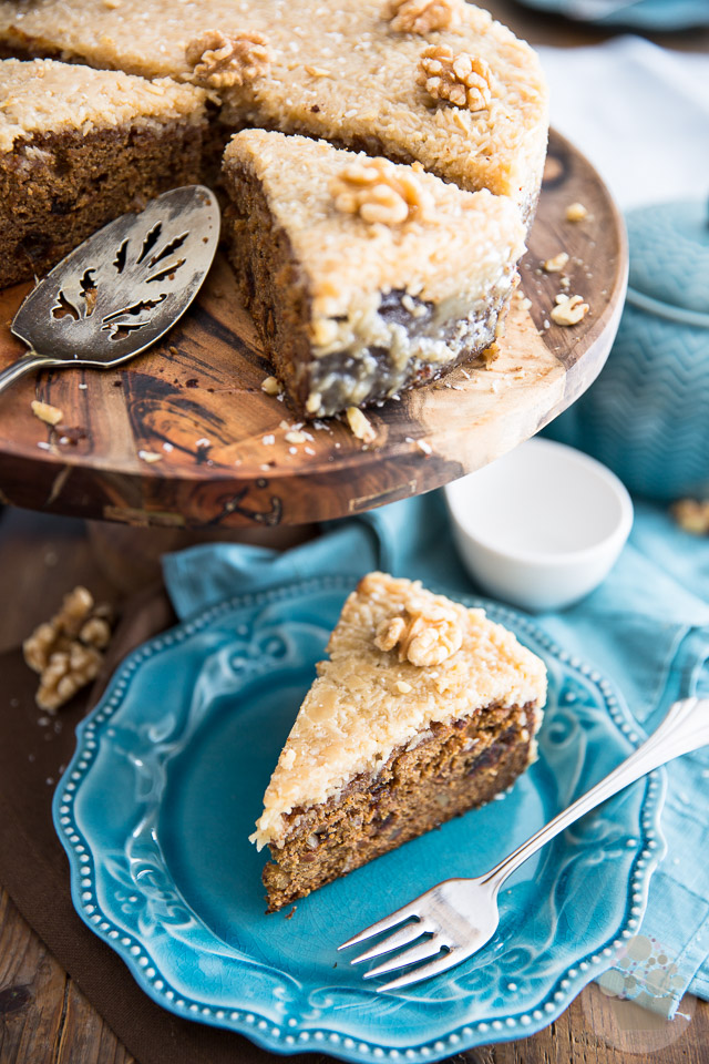 A great canadian classic, Queen Elizabeth Cake is a dense and buttery cake made rich thanks to the addition of dates and nuts and topped with a delicious brown sugar coconut frosting.