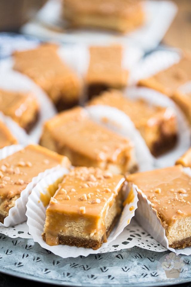 These Dulce de Leche Cheesecake Bars are a delicious combination of tangy, creamy cheesecake topped with a generous layer of sweet milk caramel.