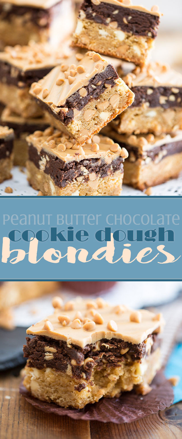 A deliciously chewy peanut butter blondie topped with a thick layer of cookie dough and covered with a delicious melted peanut butter chocolate frosting.