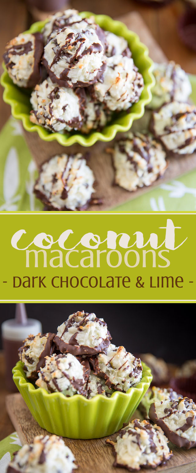 Chewy, sticky, sweet and tangy, these Dark Chocolate Coconut Macaroons with a hint of lime are so deliciously addictive, you won't be able to stop at one...